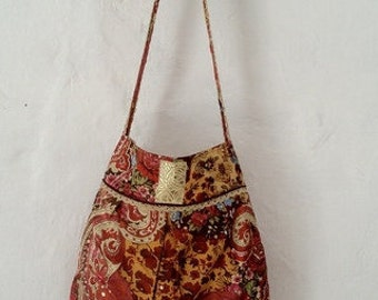 Boho Tote, Boho Handbag, Gold Fabric Bag, Brown Bag, One of a Kind Bag, Hand Stitched Bag, Flowers Bag, Fabric and Lace Bag, Retro Tote,