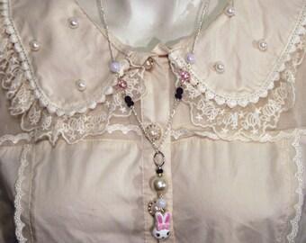 Sweet lolita decora fairy kei cute bunny necklace