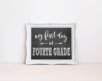 "First Day Of Fourth Grade Chalkboard Sign || 8""x10"" DIGITAL DOWNLOAD First Day Of School Chalkboard Printable 