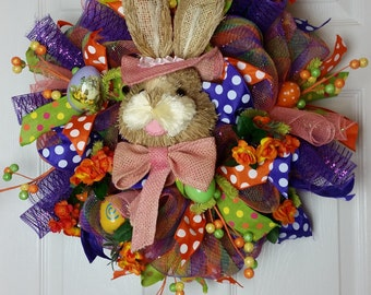 Inventory Sale ,Deco Mesh Easter Bunny Wreath