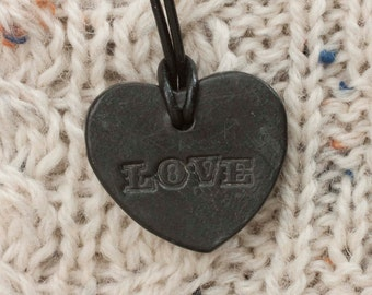 "Heart Necklace on Leather Cord. Ceramic Pit Fired Pottery ""LOVE"" Pendant. Rustic Clay Jewellery."