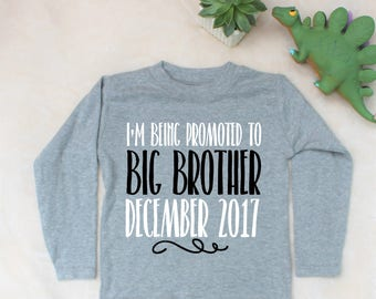 Pregnancy Announcement Big Brother Print Grey Marl Long Sleeve Top T-Shirt