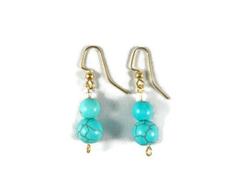 Turquoise Beaded Dangle Earrings; Handmade, Boho Earrings, Beaded Earrings, Turquoise Earrings, Handmade, Drop Earrings, Gifts for Her