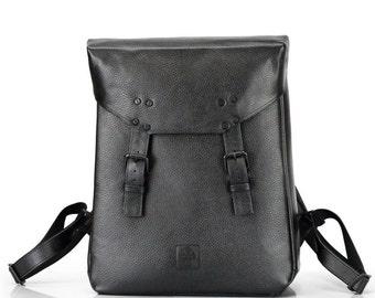 Black Leather Backpack | College Backpack | Laptop Backpack | Minimal Vanguard Design | Mens Backpack