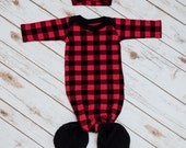 Red and Black Buffalo Plaid Mermaid Style Tie-Bottom Baby Gown and Headband Set