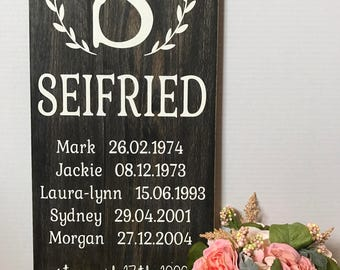 Wooden Family Name Sign - Style 2