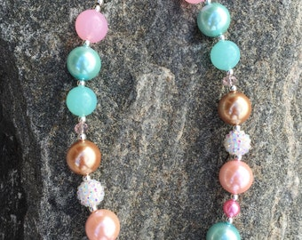 chunky necklace, bubblegum necklace, pink gold and teal necklace, Valentines Day Necklace, first birthday necklace, 1st party