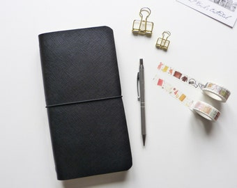 Black Saffiano Personalised Leather Traveler's Notebook Cover / Midori Inspired / Moleskin Field Notes Cahier Large Cover