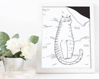 Cat print, Cat duvet cover, Doodles, Cat Art, Cats, Cats Lover, Digital Download, Animal Print, Canvas Print, Cat Illustration, Cat Decor