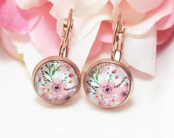 Rose Gold Flower Earrings,Rose Gold Drop Earrings, Pink Flower Earrings, Flower Jewelry, Glass Dome Earrings,Romantic Handmade Gift for her
