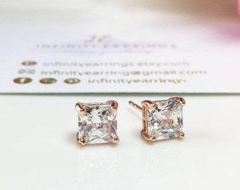 Diamond Studs Earrings,Square Diamond Earrings, Princess Cut Diamond Earrings, 6mm Diamond Studs, Rose Gold Studs,Large CZ Diamond Earring