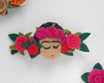 Miniature Frida's face barrette