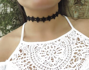 Black Choker, Choker Necklace, Suede Leather Choker, Patterned Flower Choker, Bohemian Choker, Black Choker, Lace Leather, Trendy Jewelry
