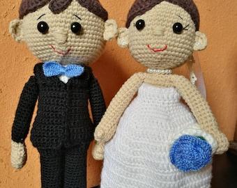 Bride and groom ideal Amigurumi.Regalo for parejas.hecho to crochet.