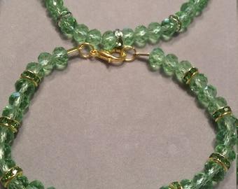 Green Rhinestone & Glass Beaded Bracelet
