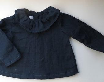 Navy Double Gauze Ruffle Collar Infant/Toddler Girls Blouse