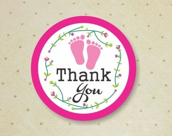 Printable Baby Shower Favor Thank You Tags for Girls. Footprints Thank You Tags. Baby Shower. Thank You Tags. It's a Girl.