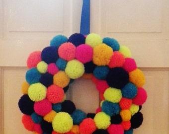 Custom Made Large Pom Pom Wreath