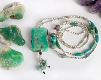 Chrysoprase Water Nymph Necklace // Crystal Jewellery // Gemstone Necklace // Crystal Healing // Healing Crystals // Necklace // Thai Silver