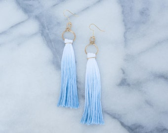 Blue Dip Dye Tassel Earrings, Handmade Hammered Brass Metal