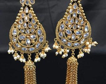 Kundan Jewelry - Indian Jewelry - Indian Bridal Jewelry - Jhumki Earrings - Jhumka Earrings - Chandelier Earrings - Kundan Earrings -