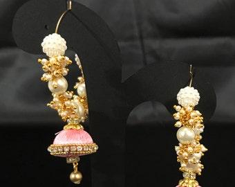 Light Pink Silk Thread Jewelry - Pink Silk Earrings - Indian Jewelry - Indian Earrings - Indian Bridal Earrings - LightWeight Earrings -