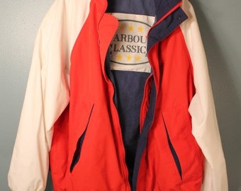 Vintage 80's Harbour Classics Red White and Blue Fisherman's Jacket Size Large