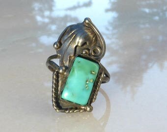 Navajo Sterling Silver and Turquoise Ring, signed Arthur J. Williams, size 5