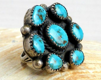 Sterling Silver and Turquoise Cluster Ring Size 7 1/2