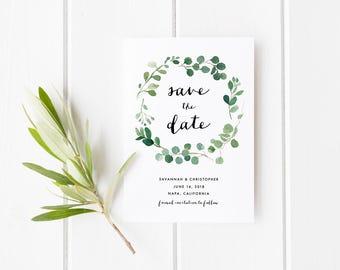 Greenery Save the Date, Eucalyptus Wreath Save the Date / Printable PDF
