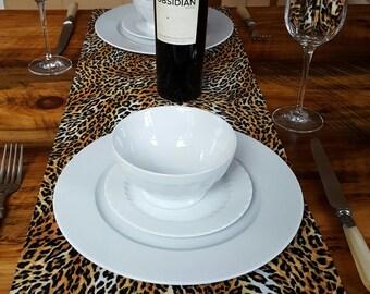 Leopard Table Runner And Napkins, Animal Print Decor, Ski House, Ski Lodge,