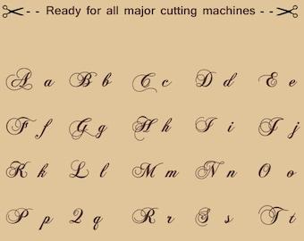 Chopin Script SVg Font Alphabet, Cuttable SVG DXF png jpg eps for Silhouette Studio, Cricut.