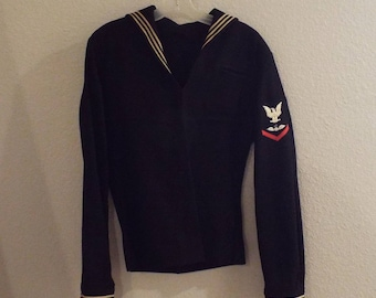 WWII Navy Top, Vintage Sailor Shirt, Enlisted Uniform Military Jacket, Wool Shirt, US Navy Small