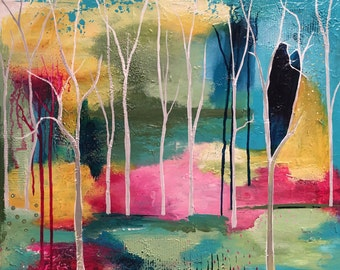 Abstract Landscape Painting, Trees, and Bold Colored Forest, Abstract Expressionist Style, Heart