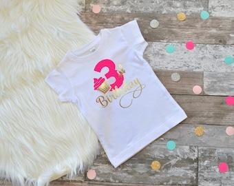Third birthday shirt girls cupcake birthday outfit girls birthday pink and gold cupcake birthday birthday tee toddler birthday shirt