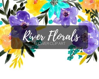 Watercolor clip art - blue flower clip art - floral clip art - wedding clip art - commercial use