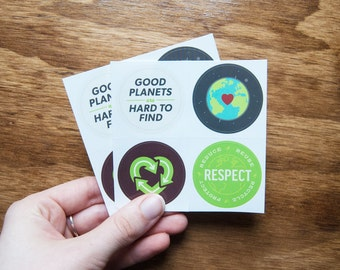 Respect Earth Stickers | Reduce, Reuse, Recycle | Environmental Nature Vinyl Circle Sticker Packs