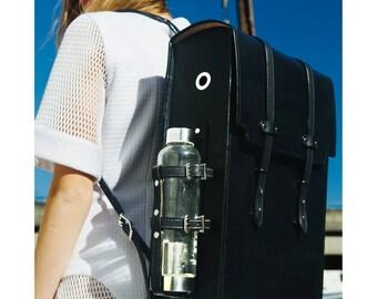 Black Leather Messenger Backpack