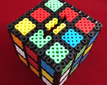Rubik's Cube Penny Bank - Rubik Cube Coin Bank - Perler Beads