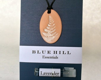 Essential Oil Necklace/Ceramic/Comes with 100% Pure Lavender Oil/Fern Necklace/Free Gift Wrap