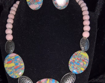 Pink Confetti necklace/earring set