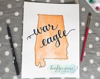 War Eagle Auburn Alabama State Map Watercolor Original Art