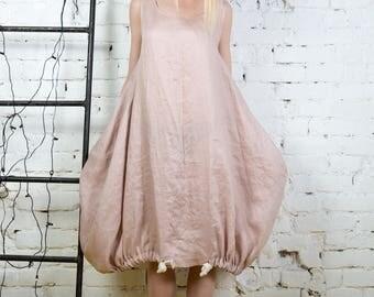 Linen summer dress, loose linen dress, linen balloon dress, linen tunic top, linen tunic, Pink linen dress, Women dress/ LD0019