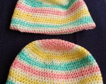 stripped crochet hat, baby hat, crochet hat, twin hat, gift baby, present baby