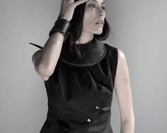 Black Bracelet Cuff/ Leather Bracelet/ Chain Bracelet Cuff/ Extravagant Leather Bracelet/ Designer Accessory/ Gift For Her Designed by PLIK
