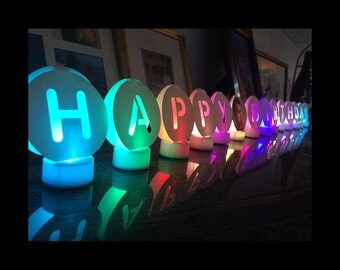 HAPPY BIRTHDAY Decorations with Color-Changing Tea Lights