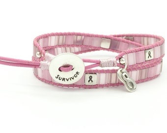 Breast Cancer Survivor Wrap Bracelet Sterling Silver