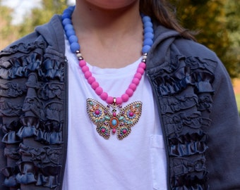 Blue & Pink Gumball Necklace with Butterfly Pendant