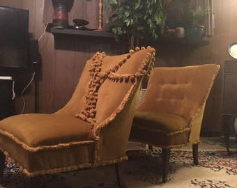 vintage hollywood style crushed velvet mustard chair