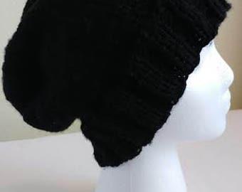Black Versatile Slouchy Beanie - Black Beanie - Knit Beanie - Slouchy Beanie - Knit Hat - Black Hat
